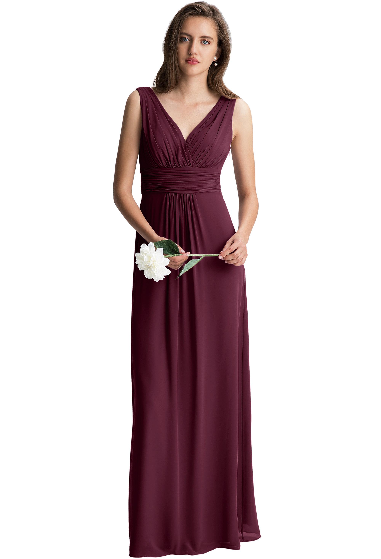 Bill Levkoff WINE Chiffon Surplice A-line gown, $150.00 Front