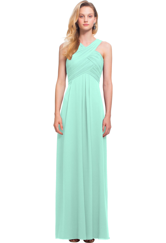 Bill Levkoff MINT Chiffon Keyhole Back A-line gown, $178.00 Front