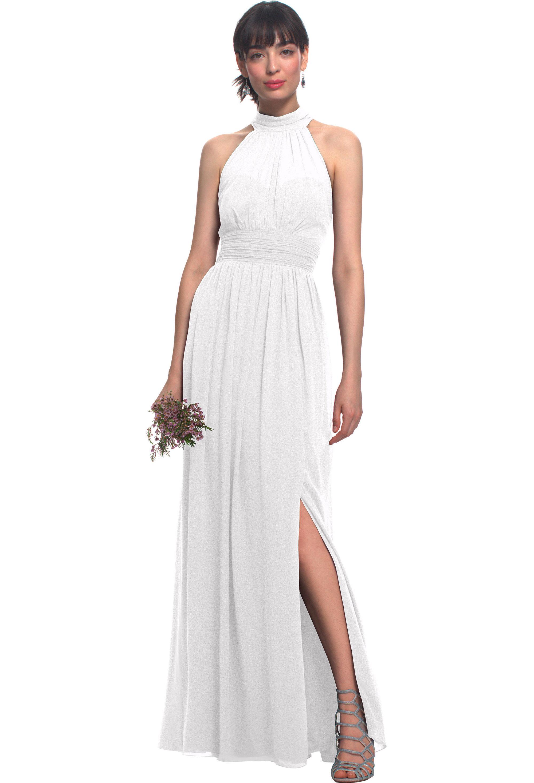 Bill Levkoff WHITE Chiffon Illusion Side Slit gown, $170.00 Front