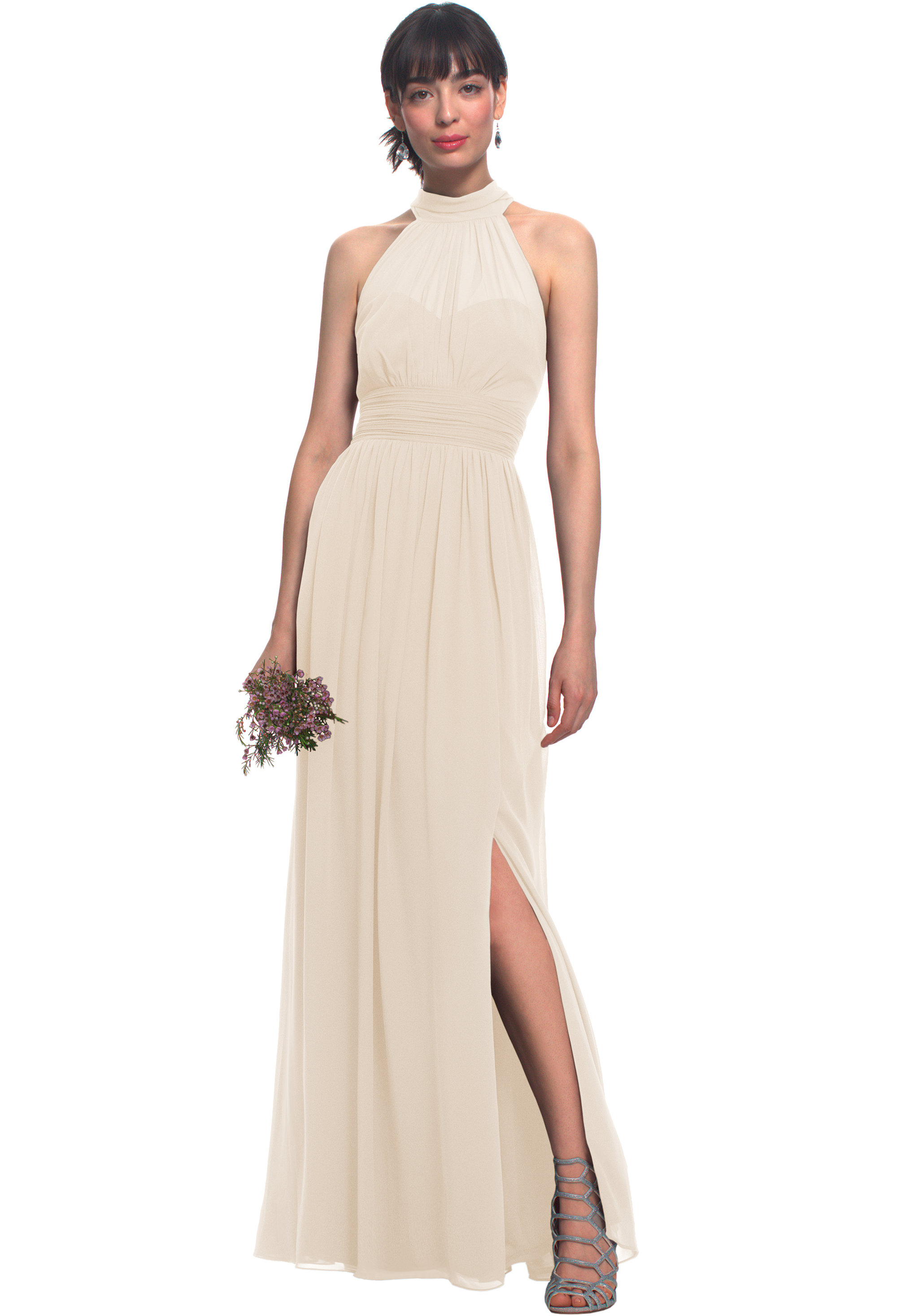 Bill Levkoff CHAMPAGNE Chiffon Illusion Side Slit gown, $170.00 Front