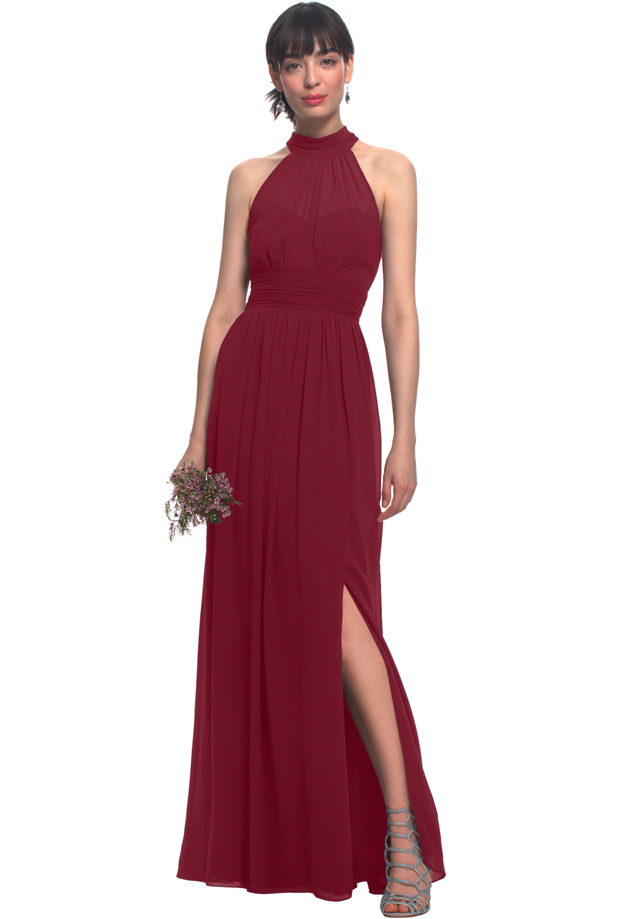 Bill Levkoff CRANBERRY Chiffon Illusion Side Slit gown, $170.00 Front