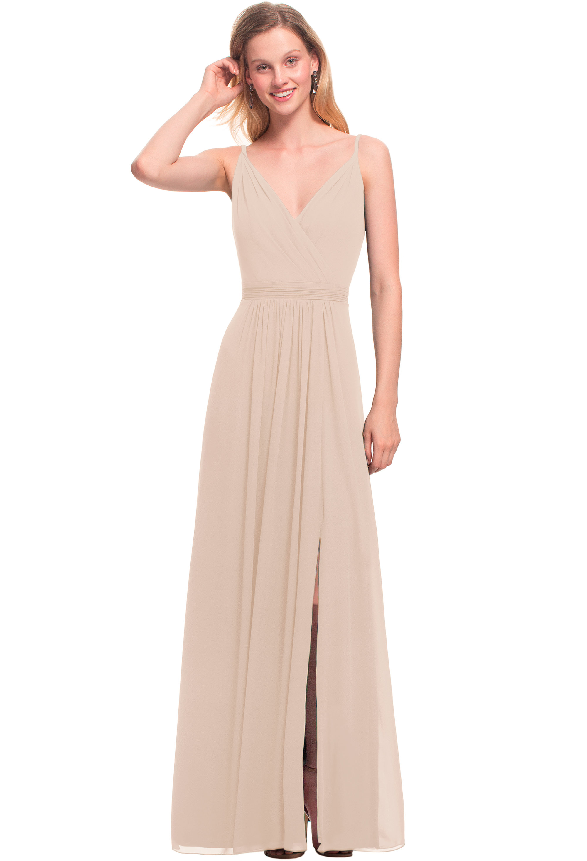 Bill Levkoff CASHMERE Chiffon V-neck A-line gown, $164.00 Front