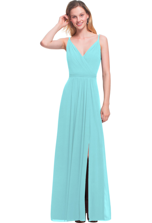 Bill Levkoff GLACIER Chiffon V-neck A-line gown, $164.00 Front