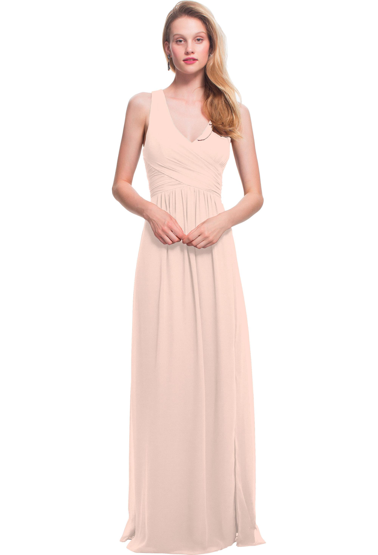 Bill Levkoff SHELL PINK Chiffon Sleeveless A-line gown, $178.00 Front