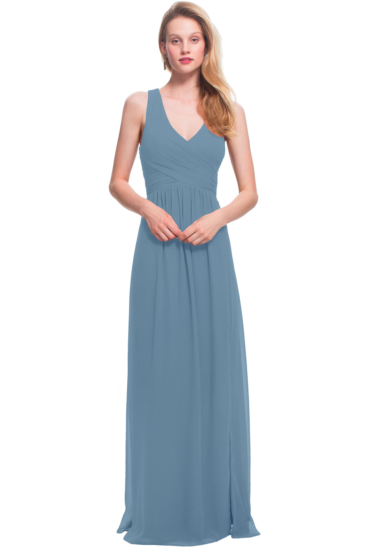 Bill Levkoff SLATE Chiffon Sleeveless A-line gown, $178.00 Front