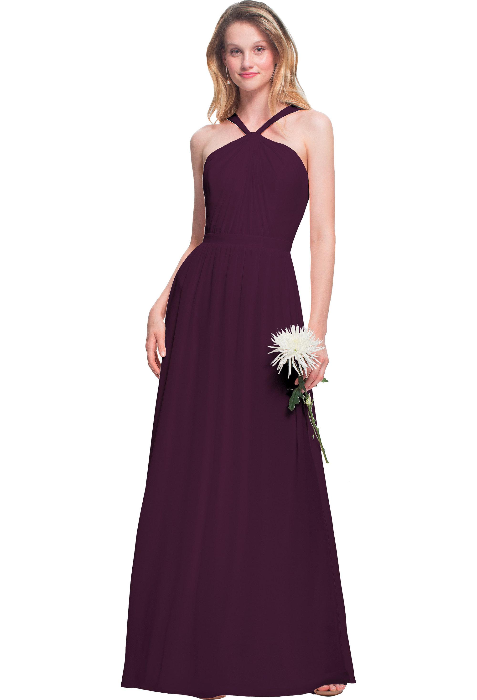 Bill Levkoff EGGPLANT Chiffon Halter A-line gown, $170.00 Front