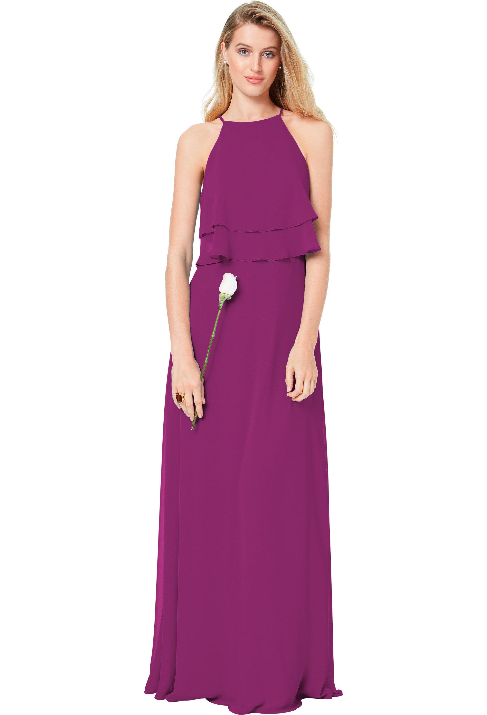 Bill Levkoff SANGRIA Chiffon Spaghetti Straps A-line gown, $174.00 Front