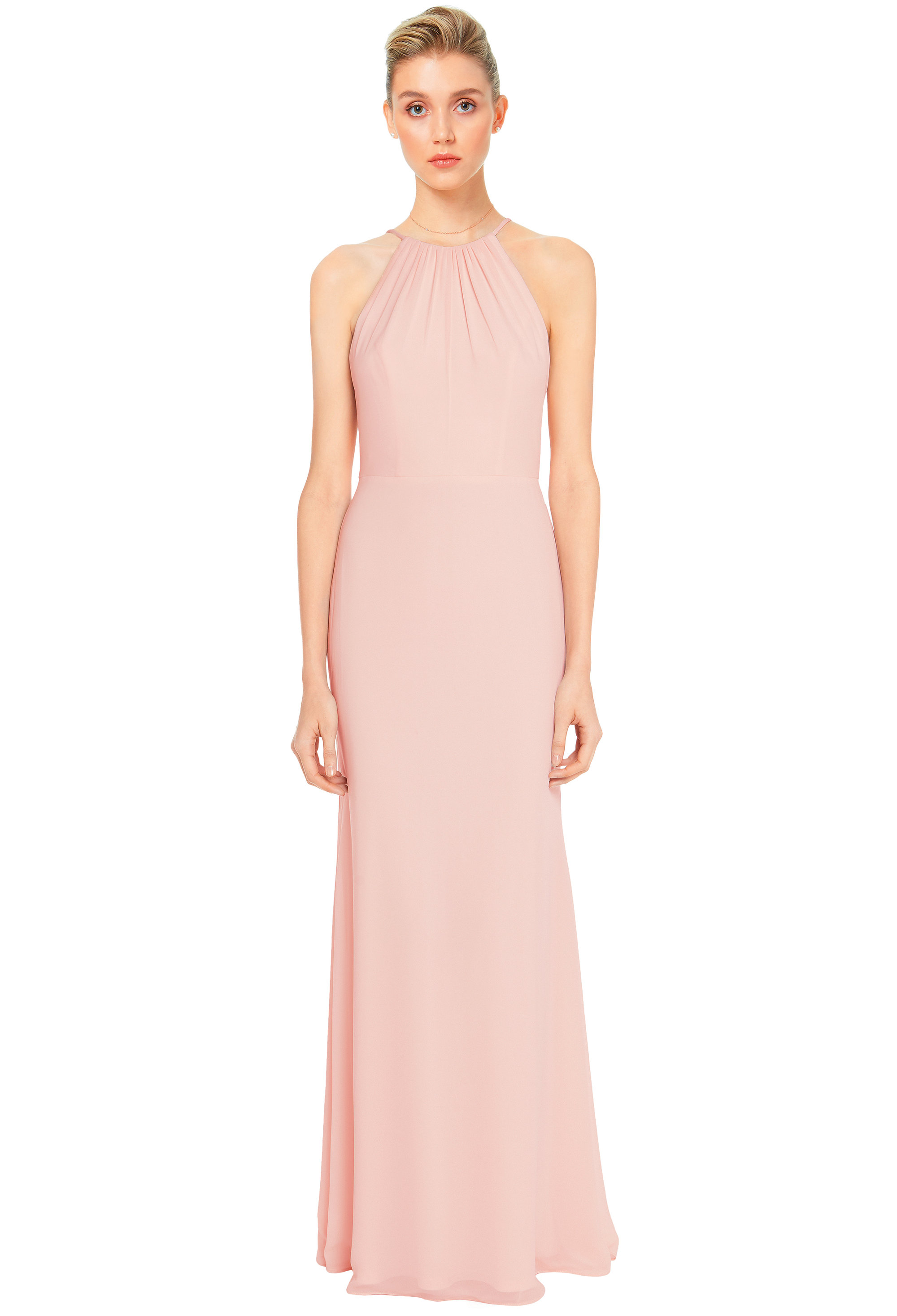 Bill Levkoff SHELL PINK Chiffon Spaghetti Strap A-line gown, $158.00 Front