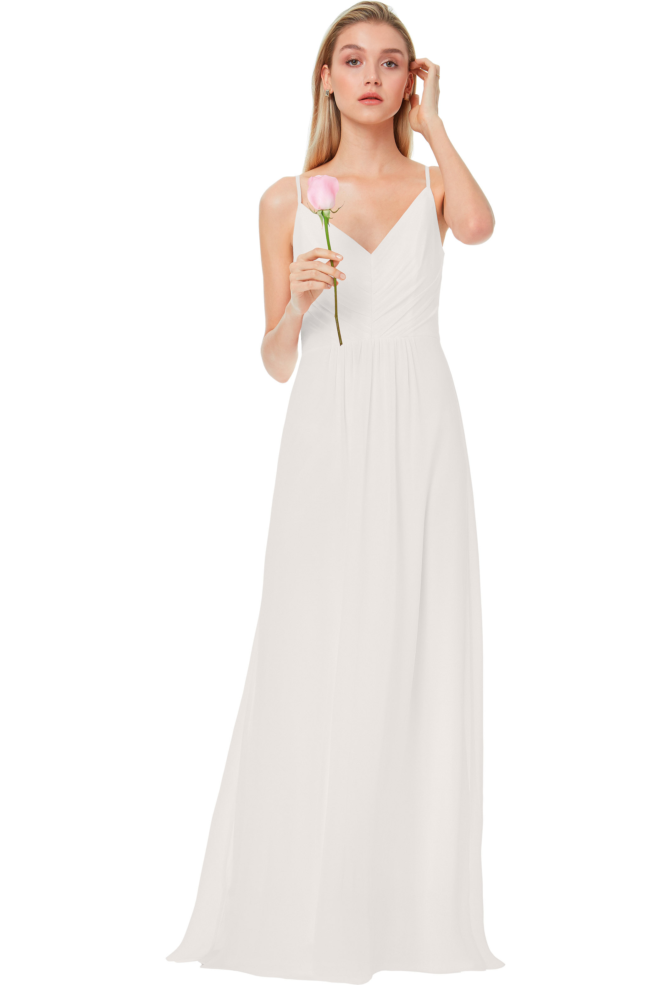 Bill Levkoff IVORY Chiffon V-back A-line gown, $174.00 Front