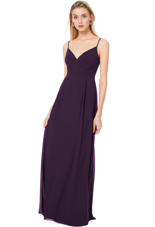 Bill Levkoff PLUM Chiffon V-back A-line gown, $170.00 Front