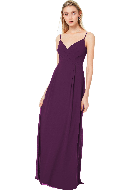 Bill Levkoff EGGPLANT Chiffon V-back A-line gown, $144.50 Front