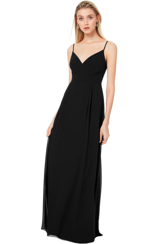 Bill Levkoff BLACK Chiffon V-back A-line gown, $170.00 Front