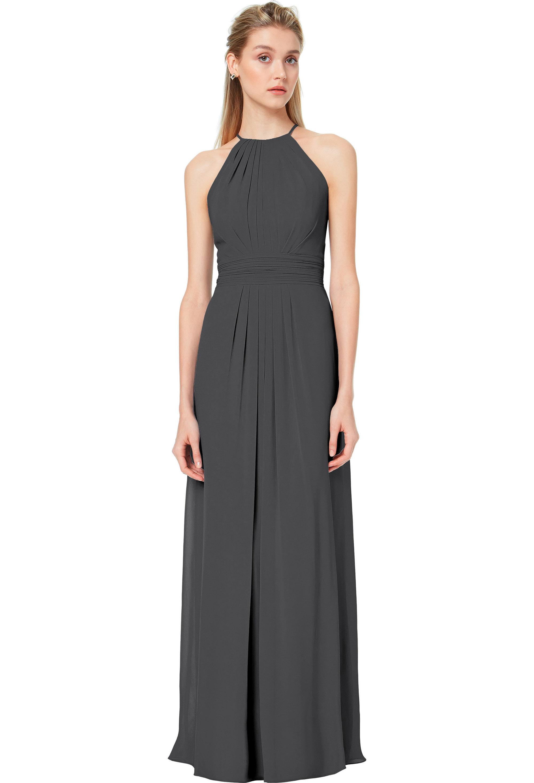 Bill Levkoff CHARCOAL Chiffon Spaghetti Strap A-line gown, $178.00 Front
