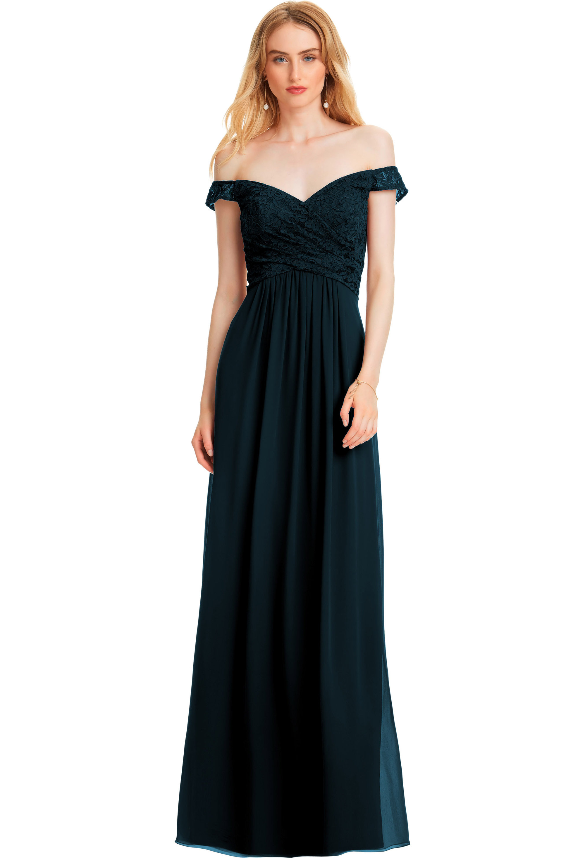 Bill Levkoff NAVY Lace Sweetheart A-line gown, $178.00 Front
