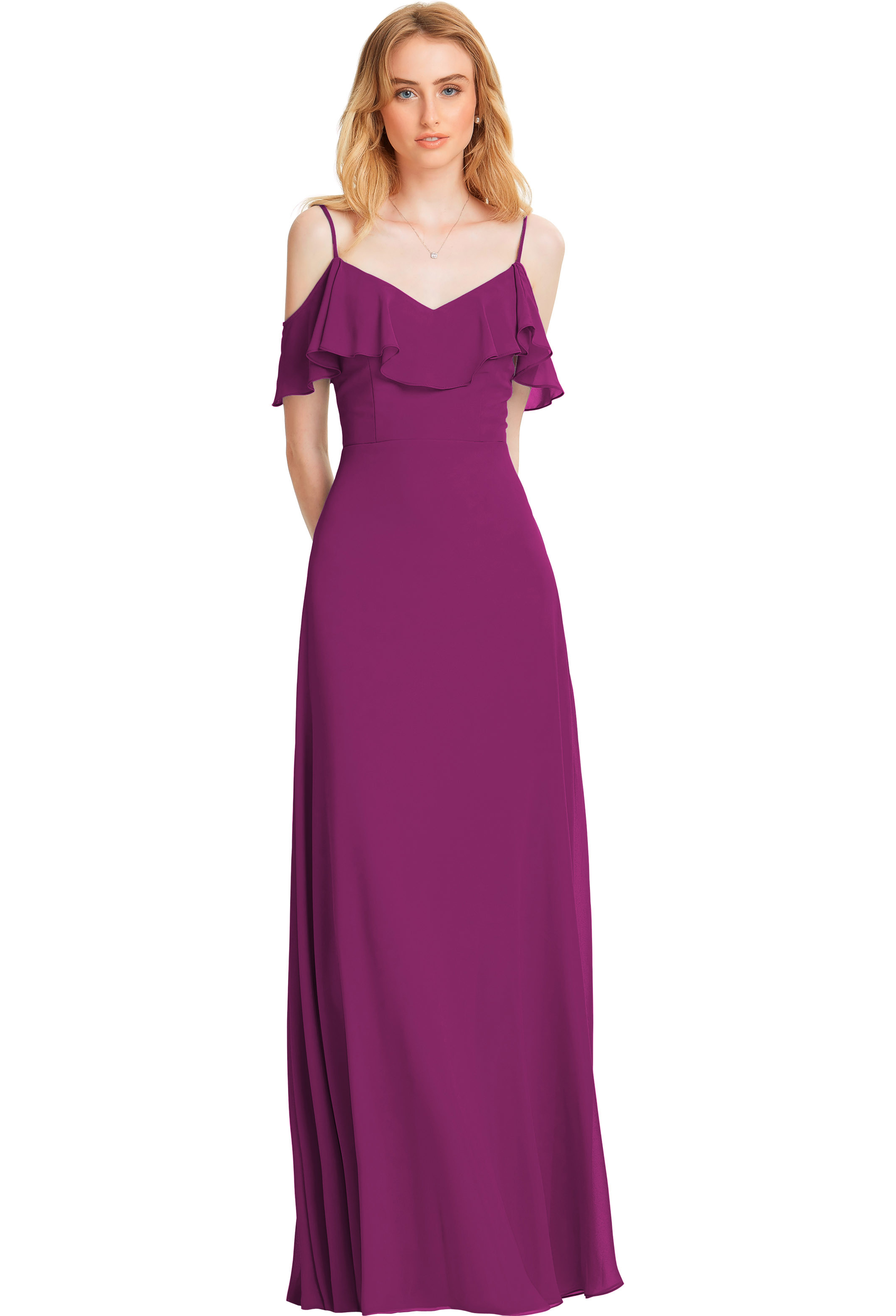 Bill Levkoff SANGRIA Chiffon V-back A-line gown, $178.00 Front