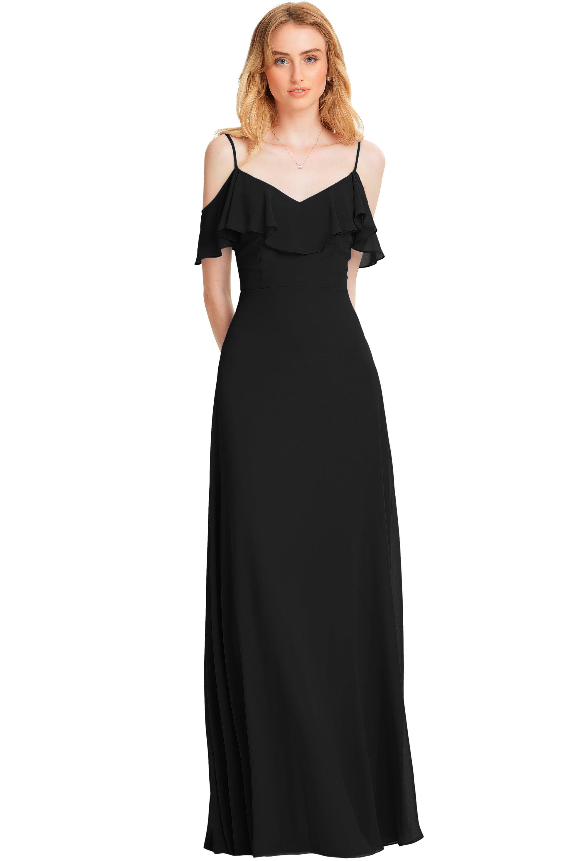 Bill Levkoff BLACK Chiffon V-back A-line gown, $178.00 Front