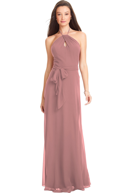 Bill Levkoff CORAL Chiffon Spaghetti Strap A-line gown, $170.00 Front