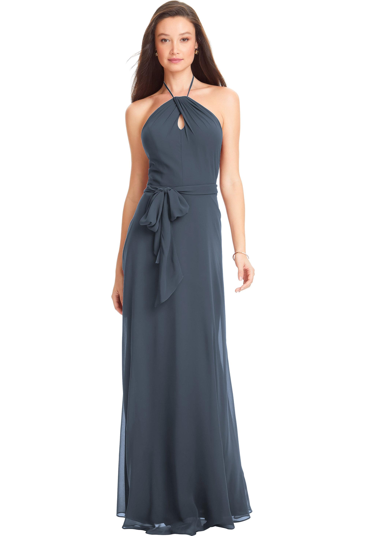 Bill Levkoff SLATE Chiffon Spaghetti Strap A-line gown, $170.00 Front