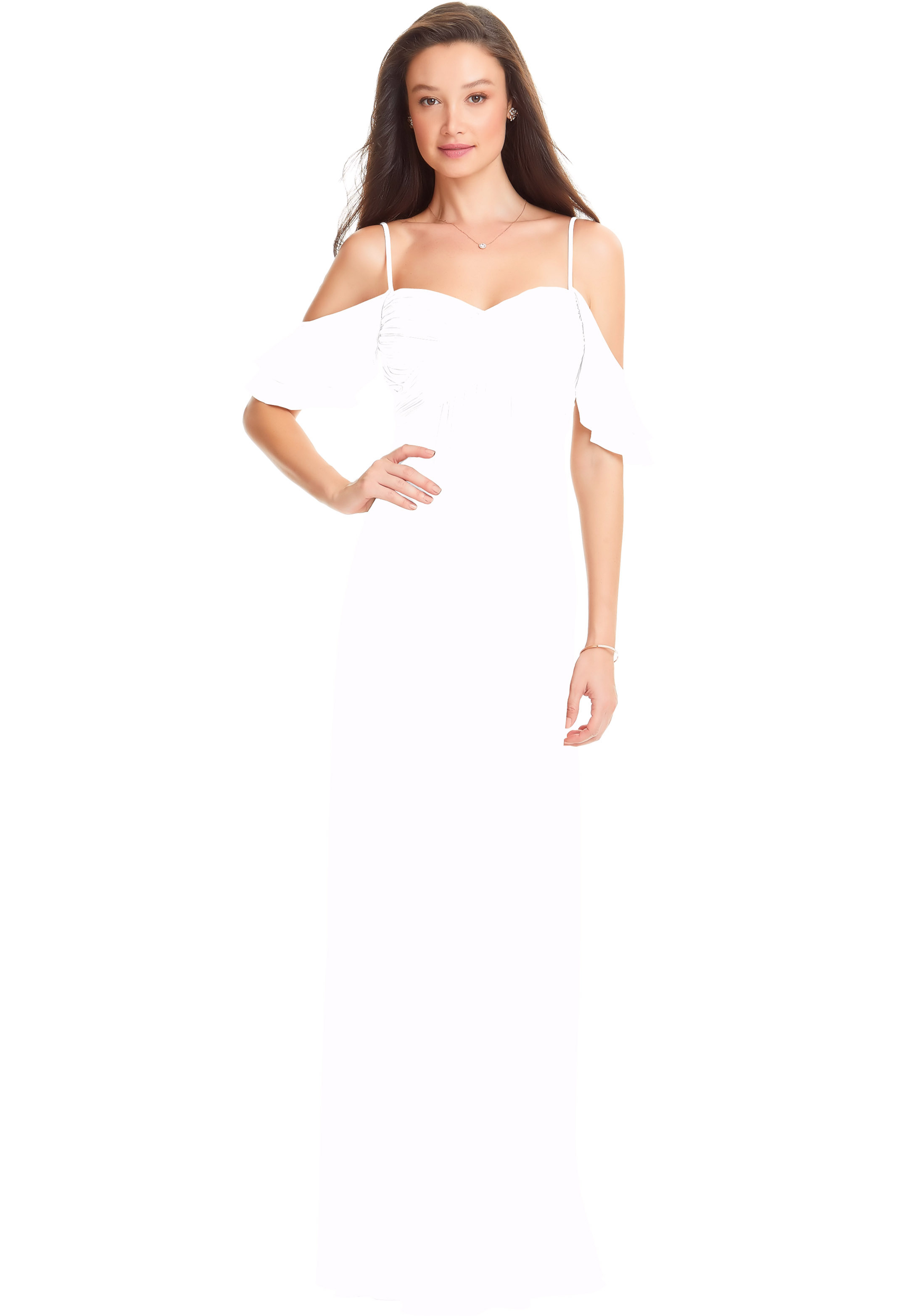 Bill Levkoff WHITE Chiffon Off The Shoulder A-line gown, $178.00 Front
