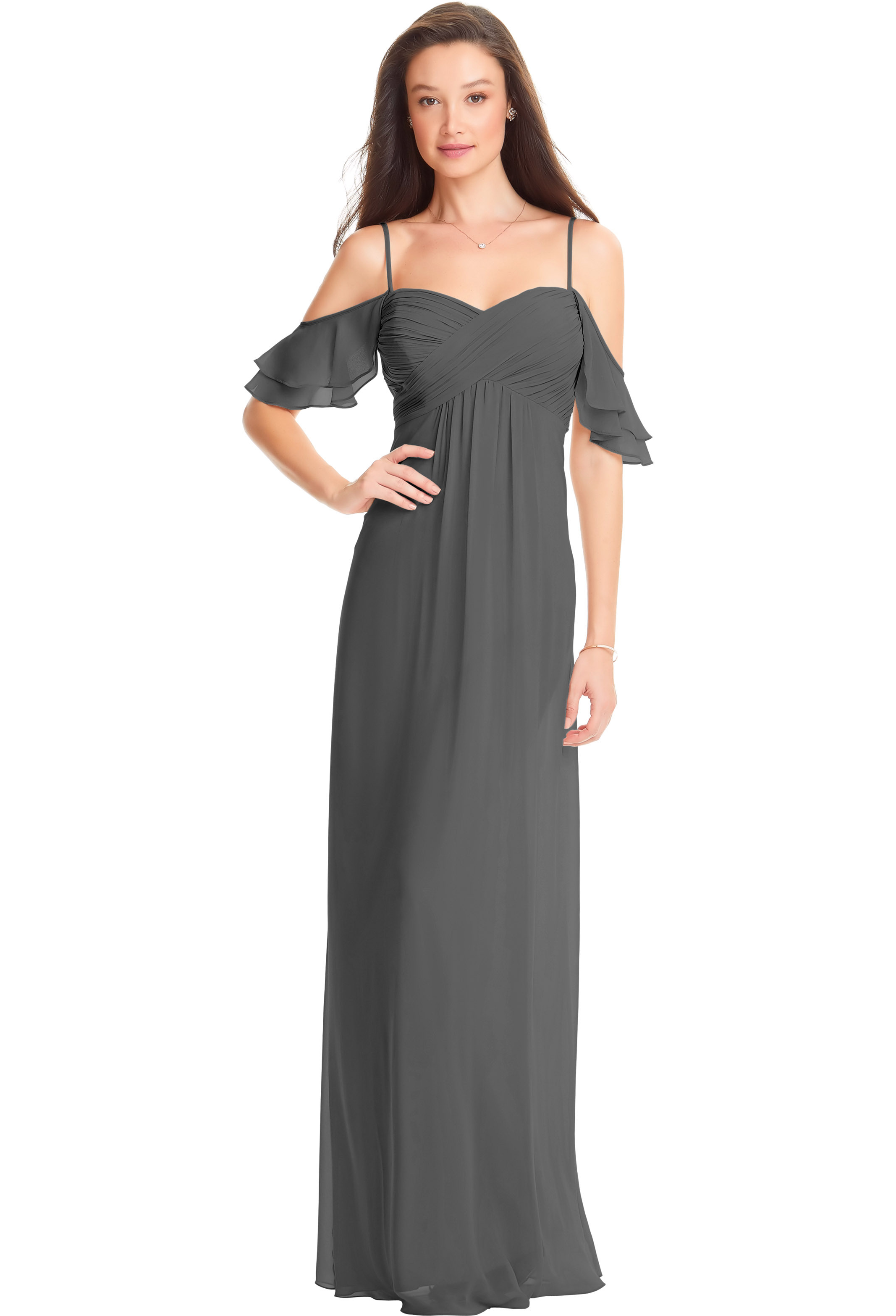 Bill Levkoff BLACK Chiffon Off The Shoulder A-line gown, $178.00 Front