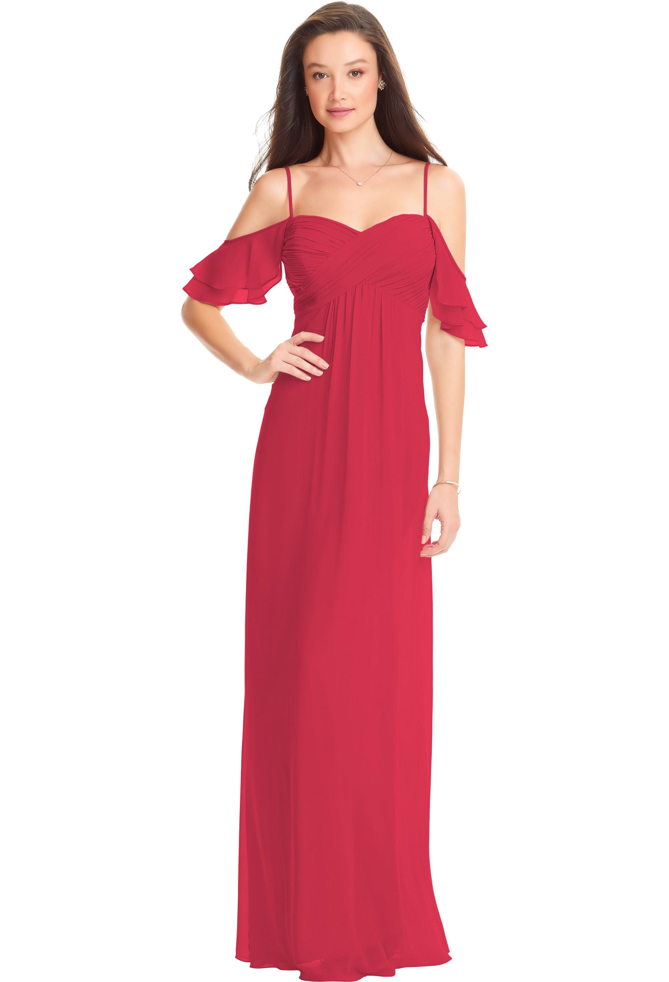 Bill Levkoff CRANBERRY Chiffon Off The Shoulder A-line gown, $178.00 Front