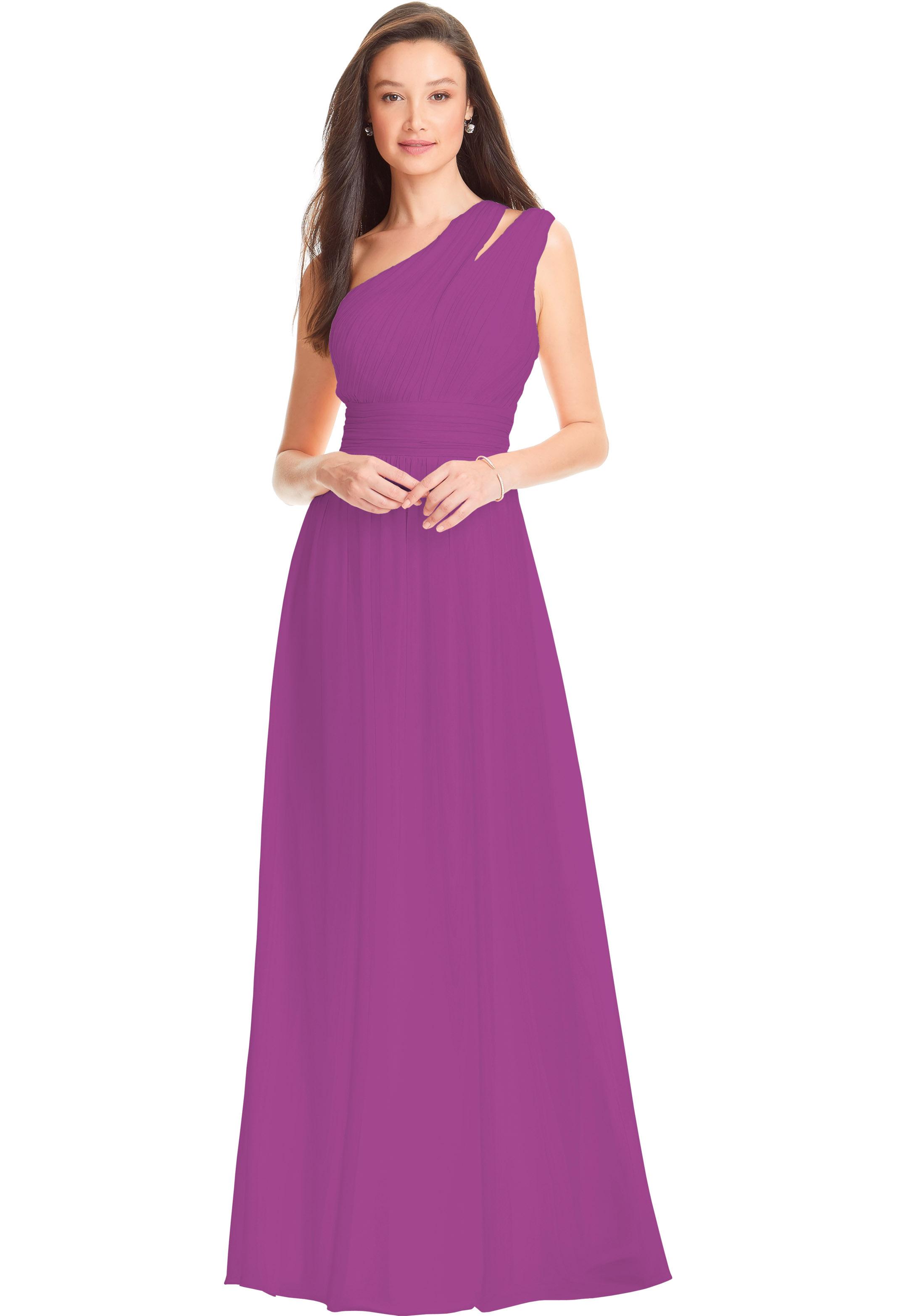 Bill Levkoff EGGPLANT Chiffon One Shoulder A-line gown, $178.00 Front
