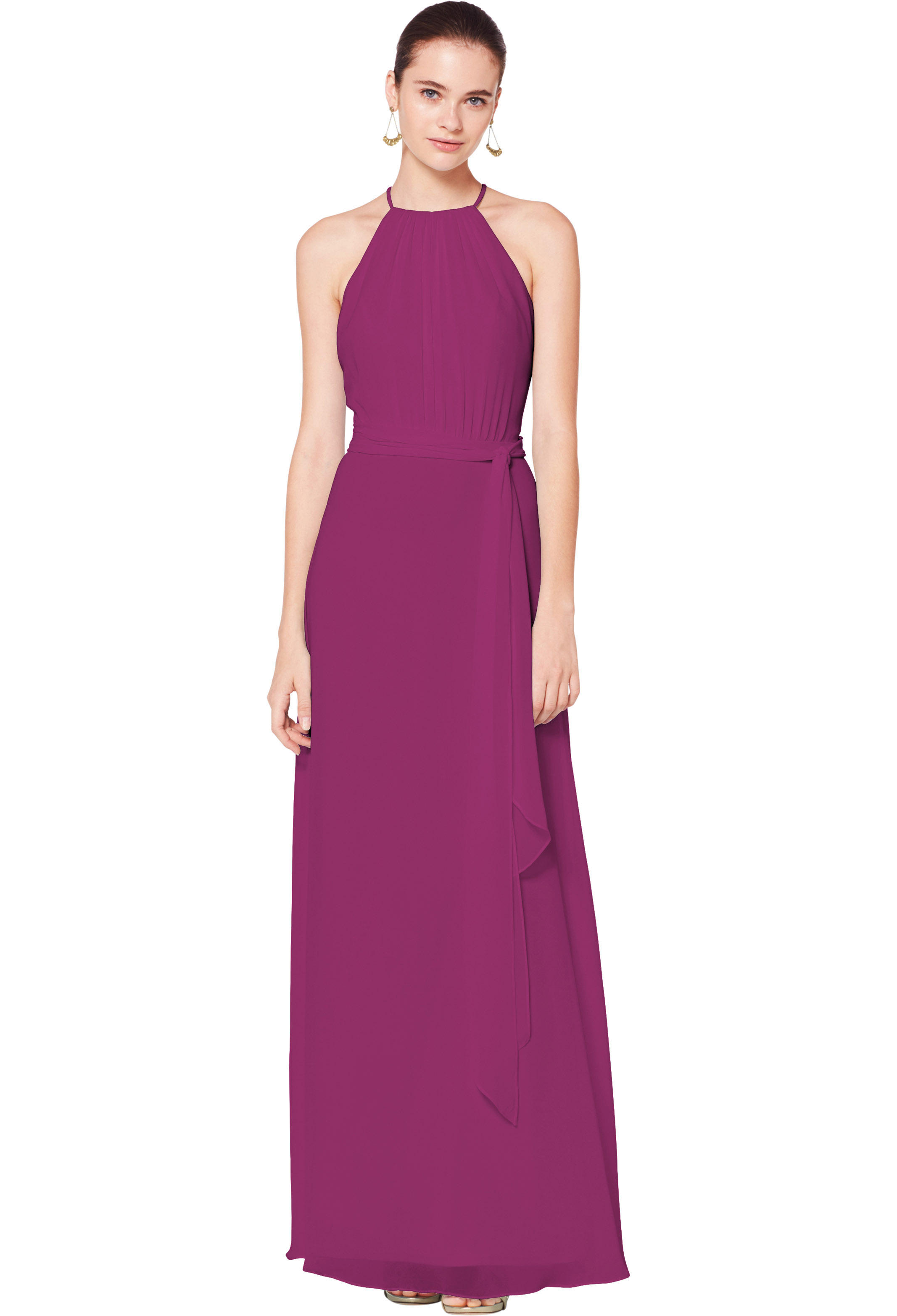 Bill Levkoff SANGRIA Chiffon Illusion A-line gown, $180.00 Front