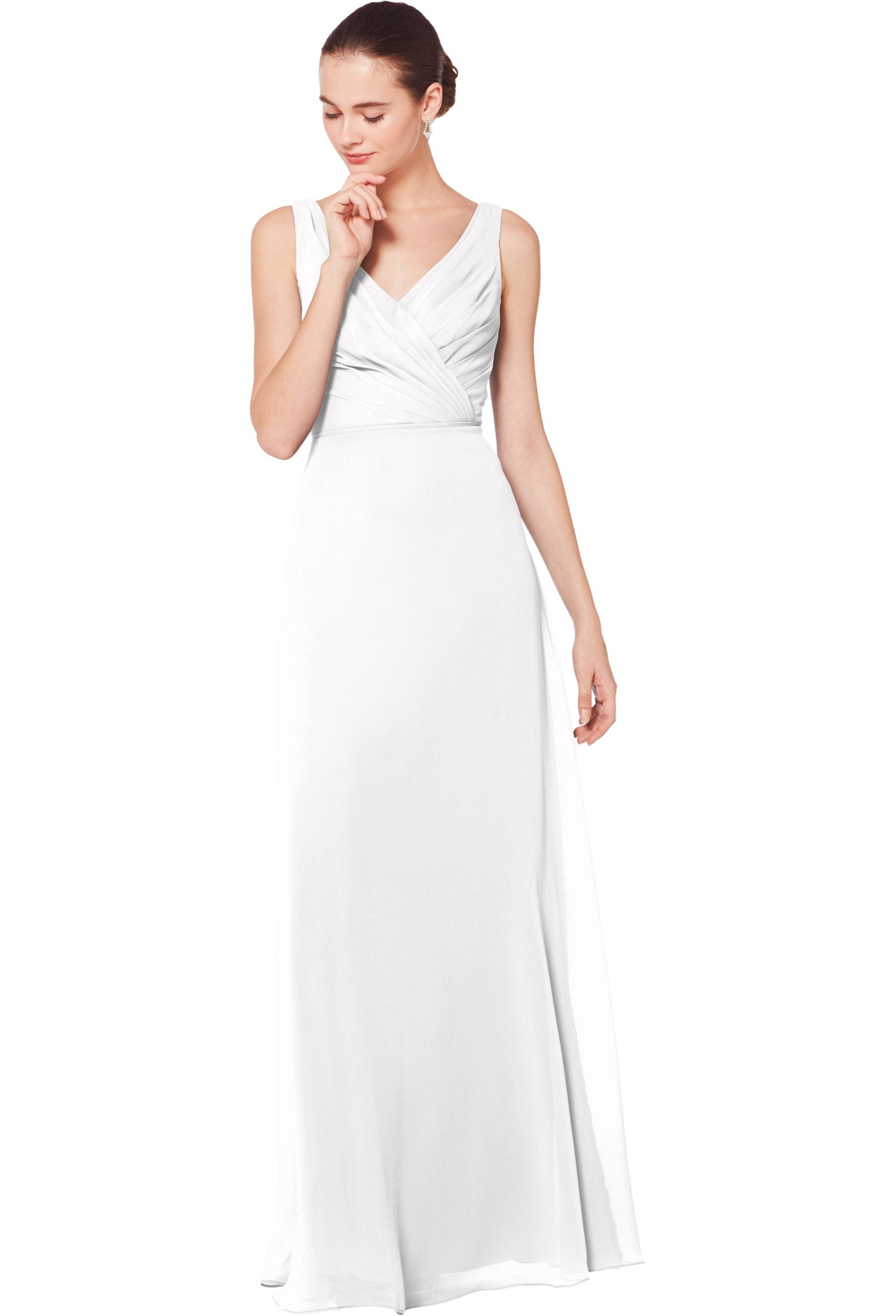 Bill Levkoff WHITE Chiffon Sleeveless Natural Waist gown, $178.00 Front