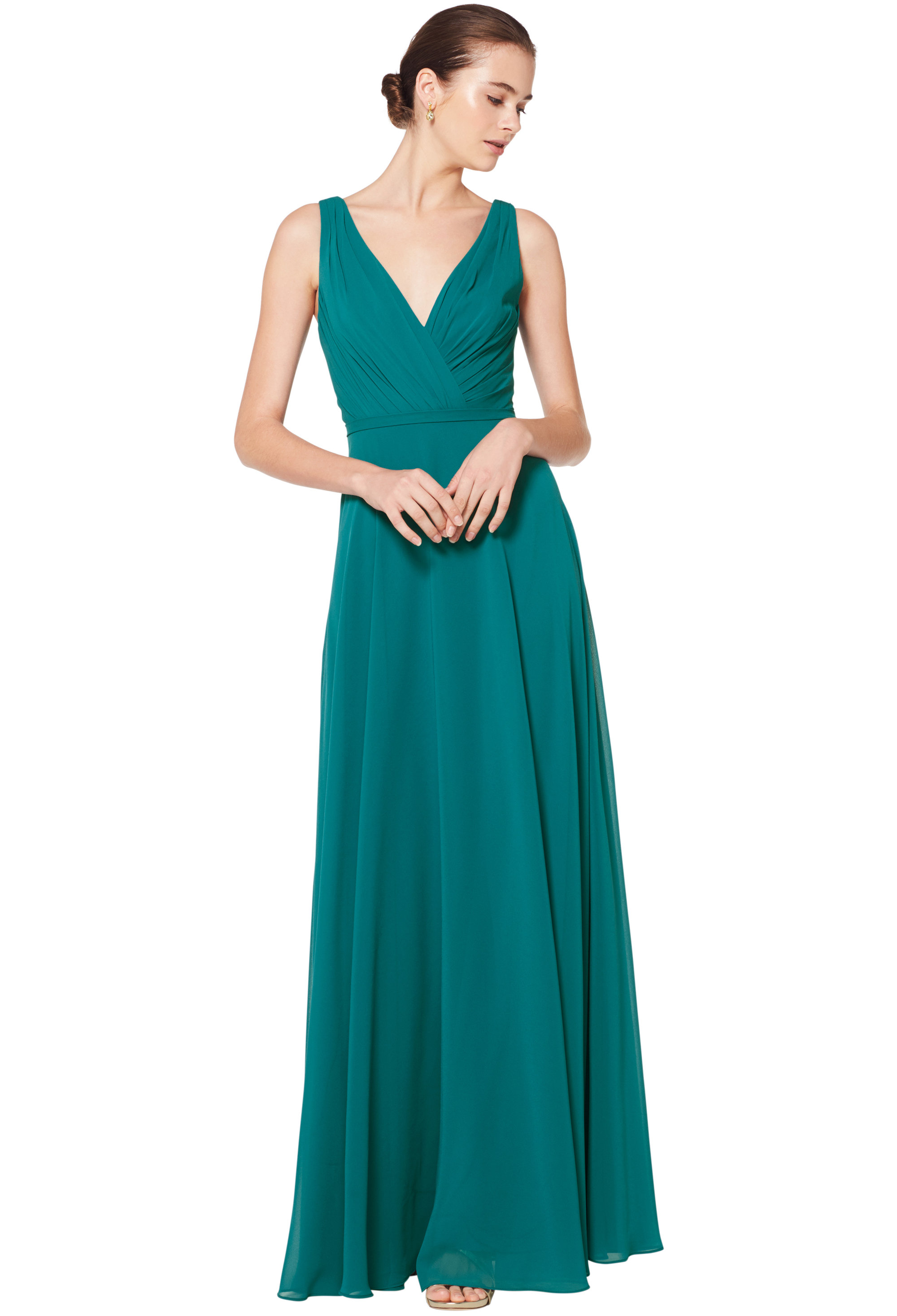 Bill Levkoff OASIS Chiffon Sleeveless A-line gown, $180.00 Front