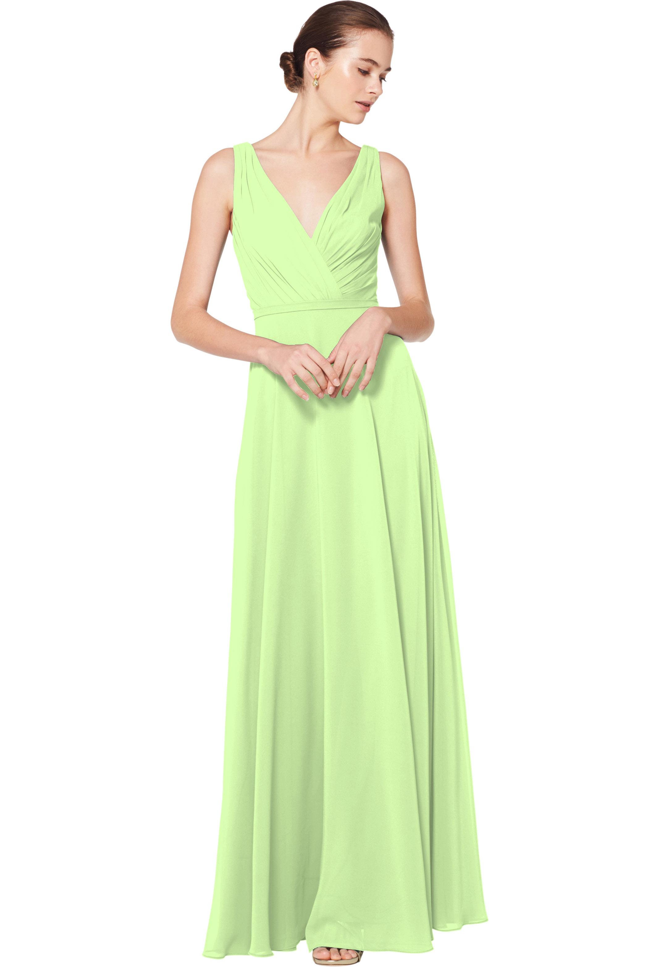 Bill Levkoff PISTACHIO Chiffon Sleeveless A-line gown, $180.00 Front