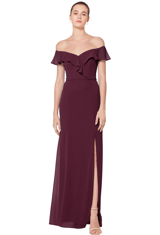 Bill Levkoff WINE Chiffon Sweetheart Floor Length gown, $170.00 Front