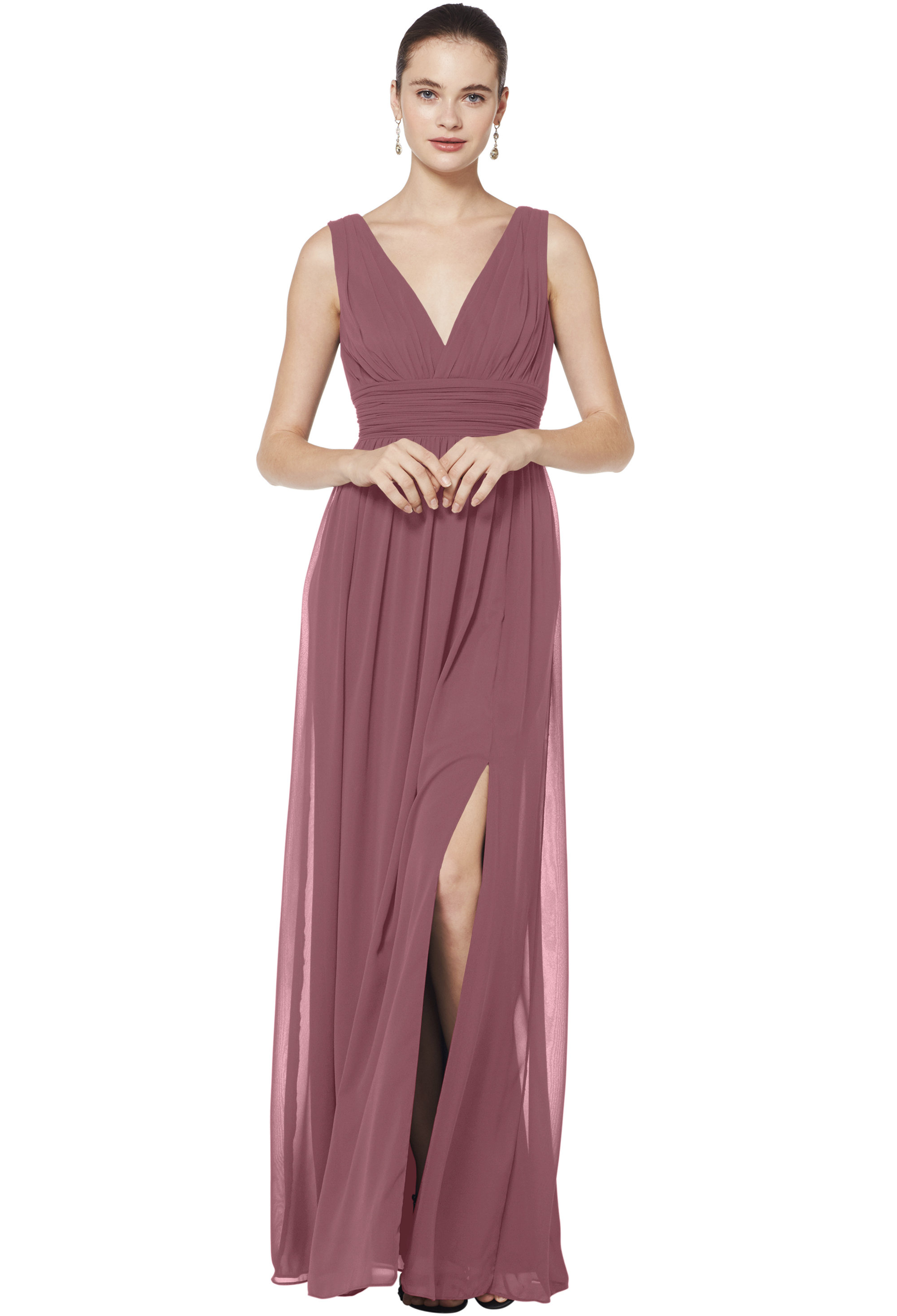 Bill Levkoff ROSEWOOD Chiffon Sleeveless A-line gown, $176.00 Front