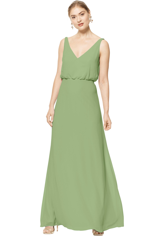 Bill Levkoff PISTACHIO Chiffon Sleeveless A-line gown, $158.00 Front