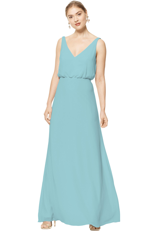 Bill Levkoff Glacier Chiffon Sleeveless A-line gown, $158.00 Front