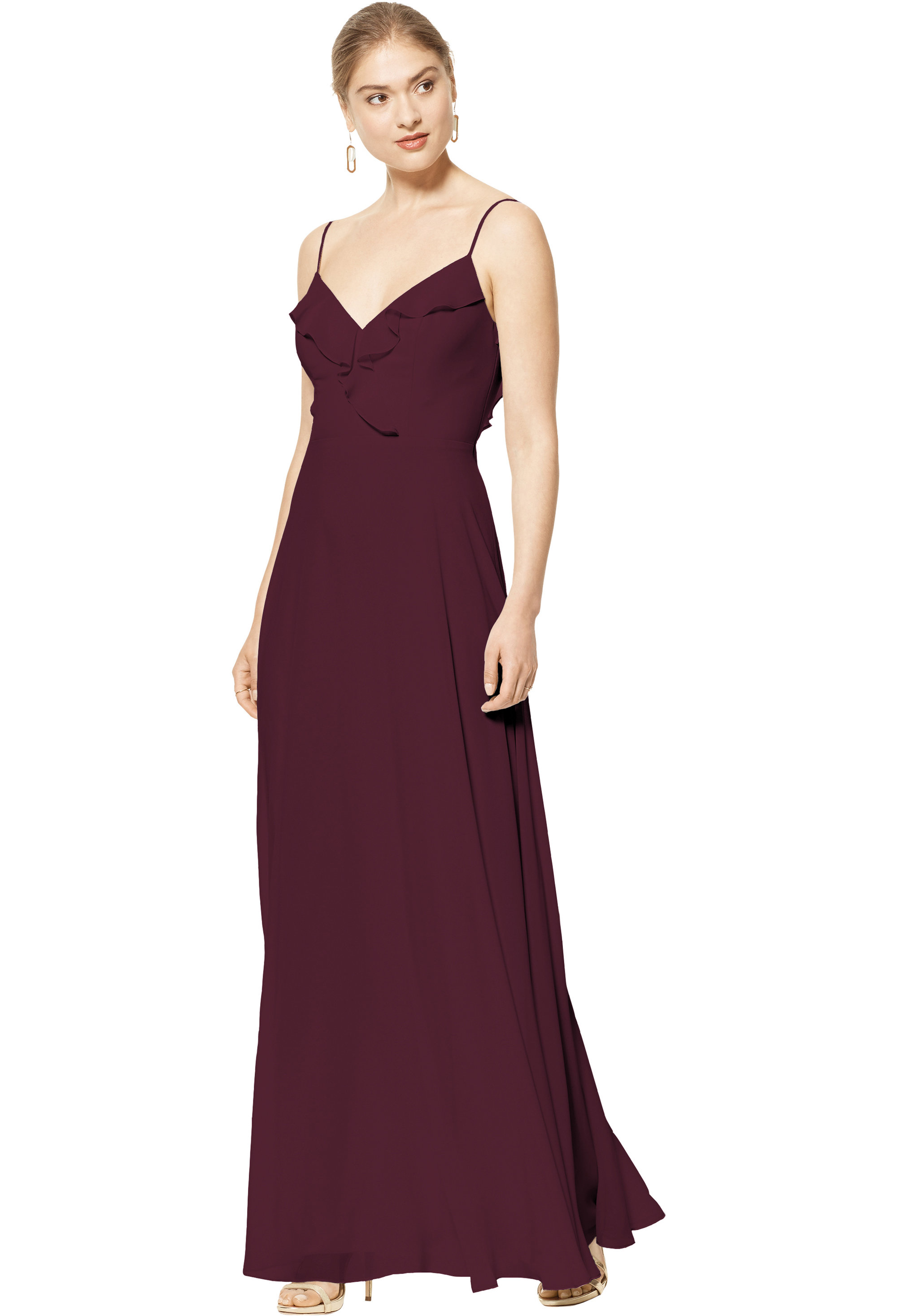 Bill Levkoff WINE Chiffon V-neck A-line gown, $170.00 Front