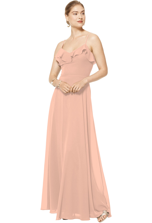 Bill Levkoff PEACH Chiffon V-neck A-line gown, $170.00 Front