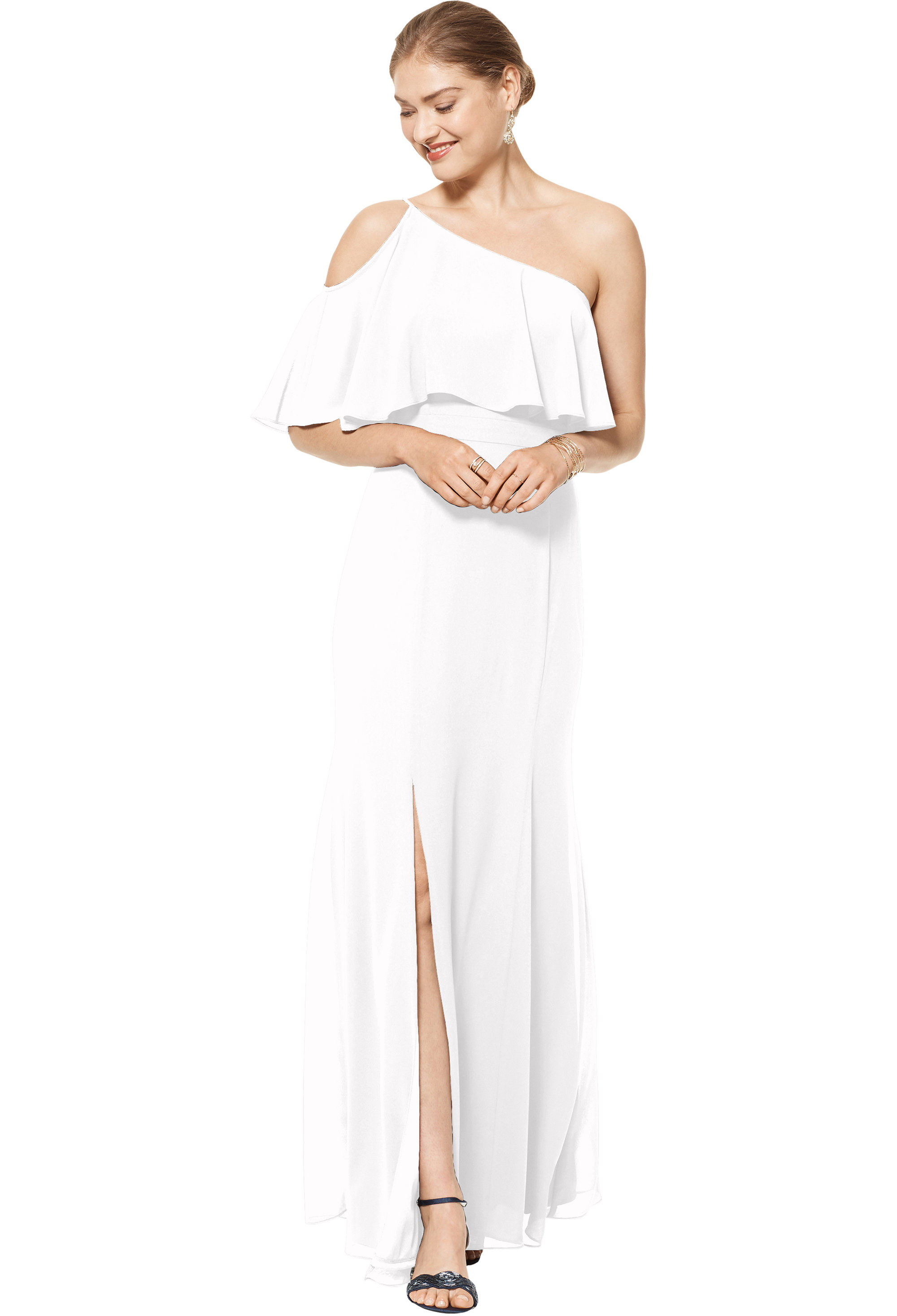 Bill Levkoff WHITE Chiffon One Shoulder Floor Length gown, $158.00 Front
