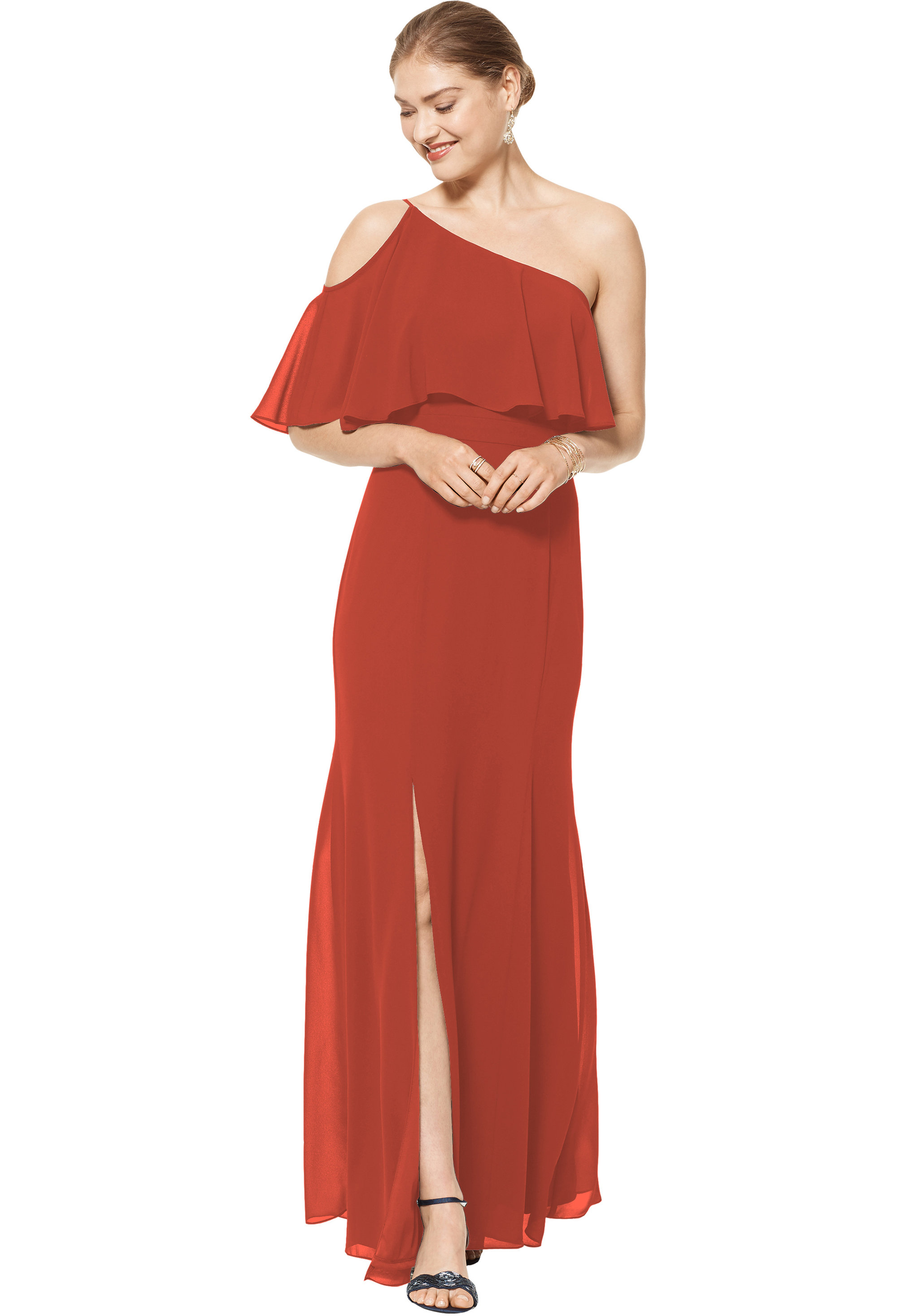 Bill Levkoff RUST Chiffon One Shoulder Floor Length gown, $158.00 Front