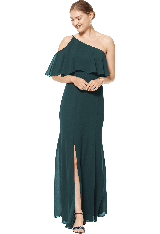 Bill Levkoff EVERGREEN Chiffon One Shoulder Floor Length gown, $158.00 Front