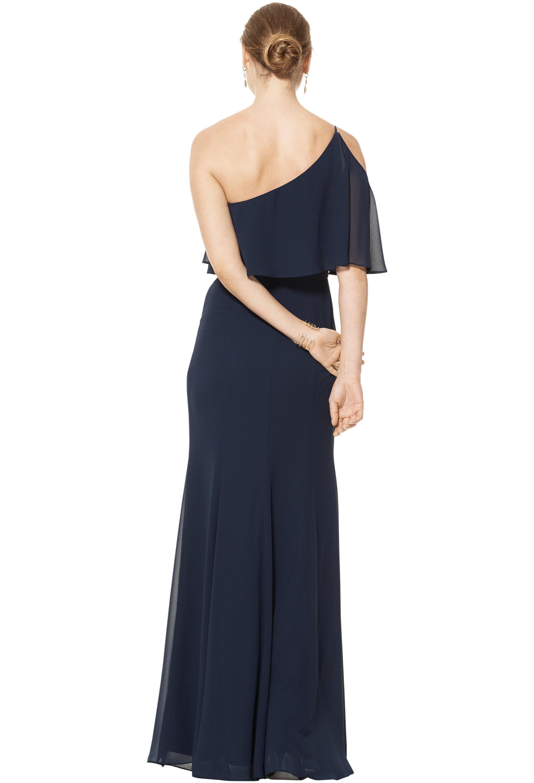 Bill Levkoff EVERGREEN Chiffon One Shoulder Floor Length gown, $158.00 Back
