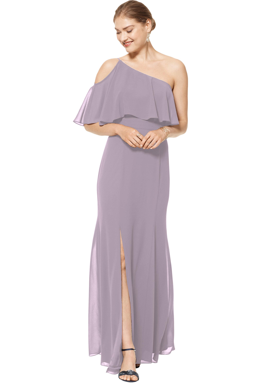 Bill Levkoff HEATHER Chiffon One Shoulder Floor Length gown, $158.00 Front
