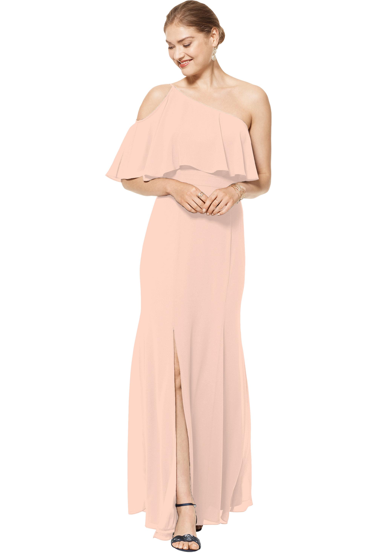 Bill Levkoff PETAL PINK Chiffon One Shoulder Floor Length gown, $158.00 Front