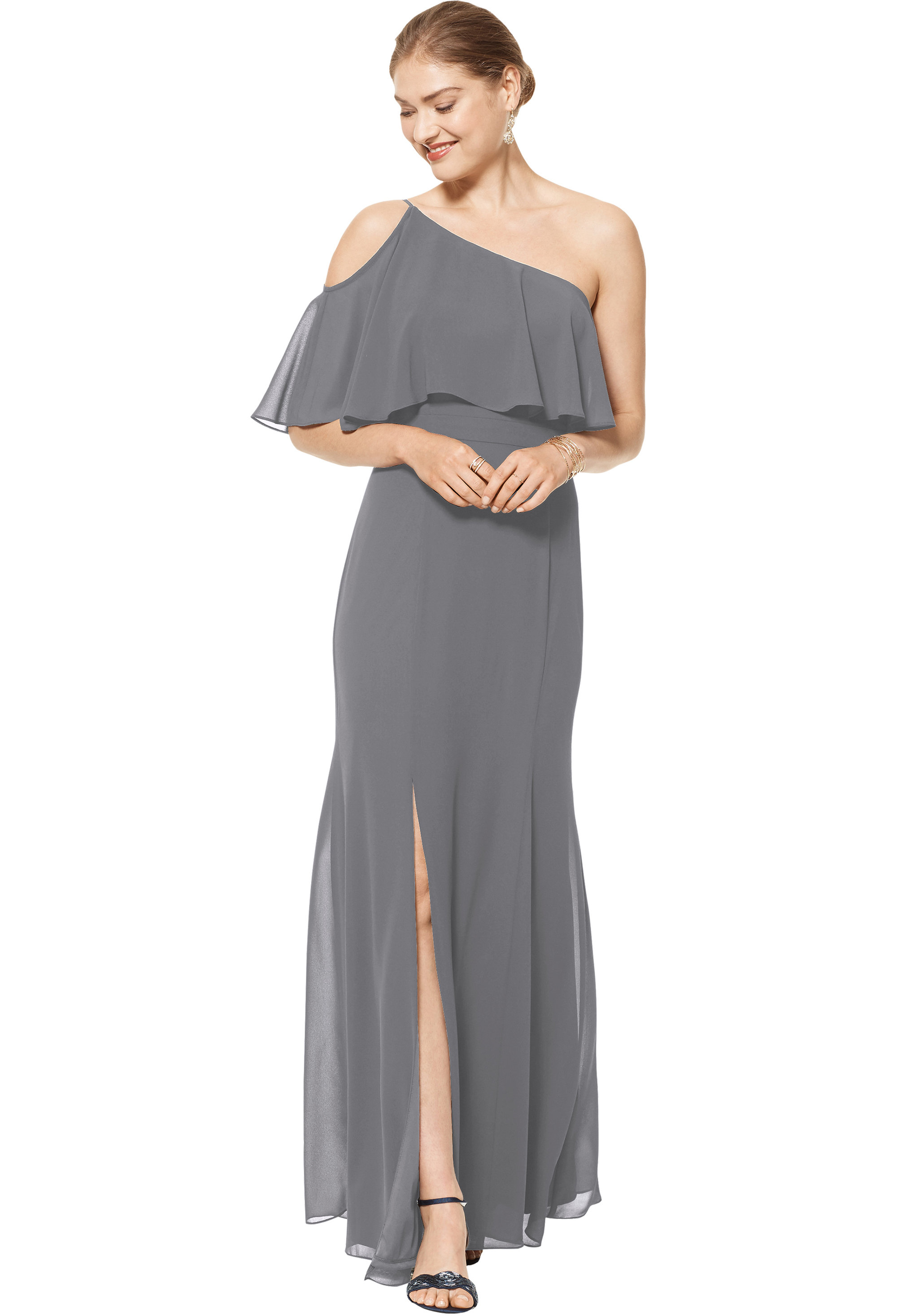 Bill Levkoff PEWTER Chiffon One Shoulder Floor Length gown, $158.00 Front