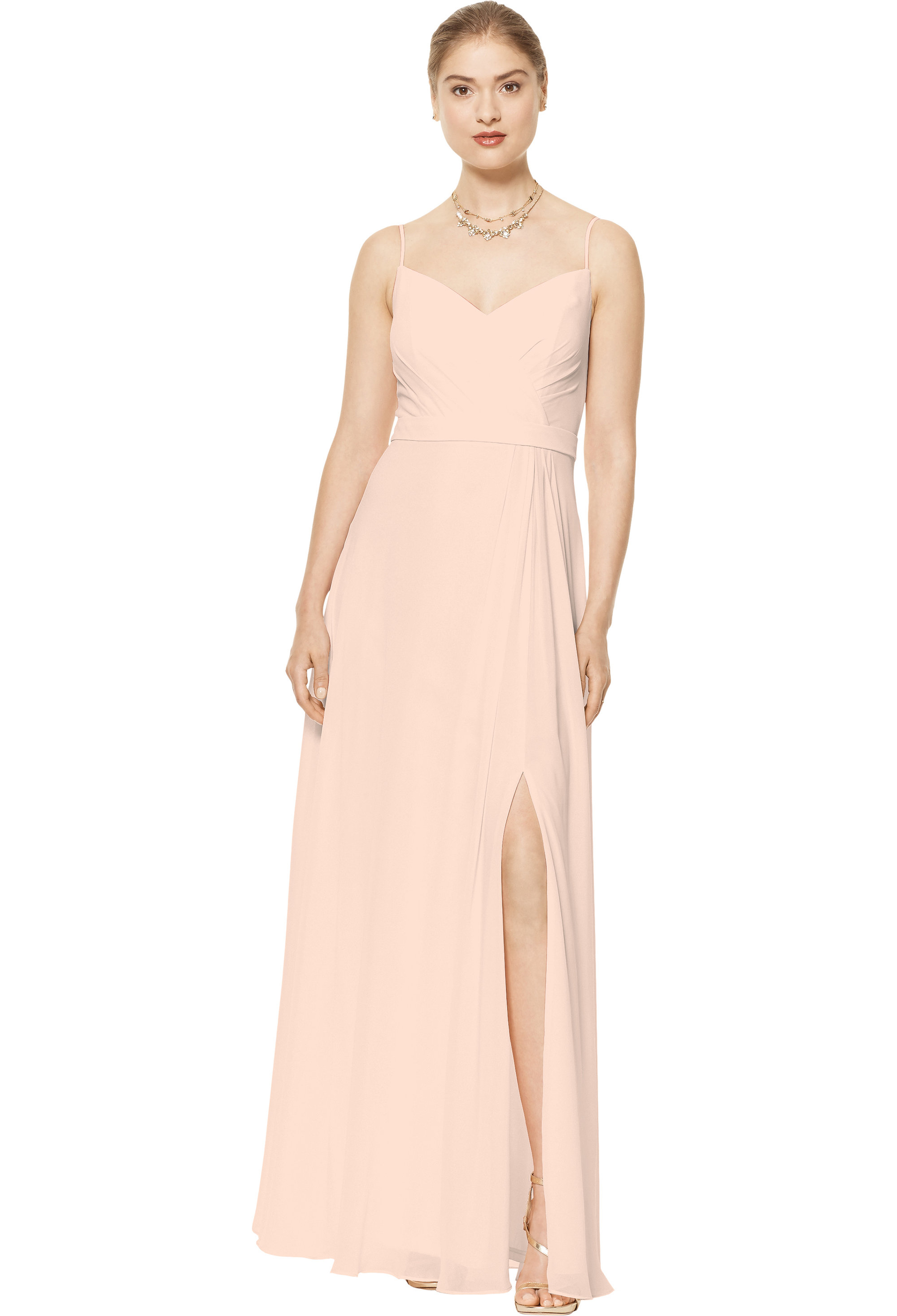 Bill Levkoff SHELL PINK Chiffon V-neck A-line gown, $170.00 Front