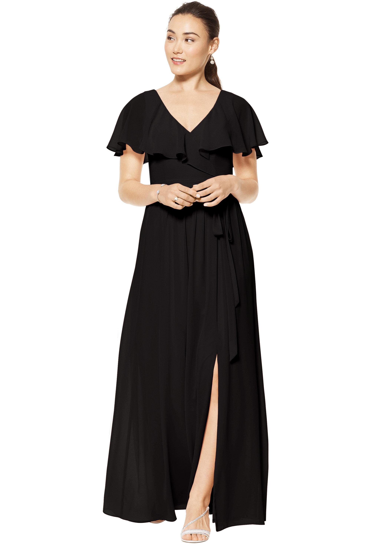 Bill Levkoff BLACK Chiffon V-neck A-line gown, $178.00 Front