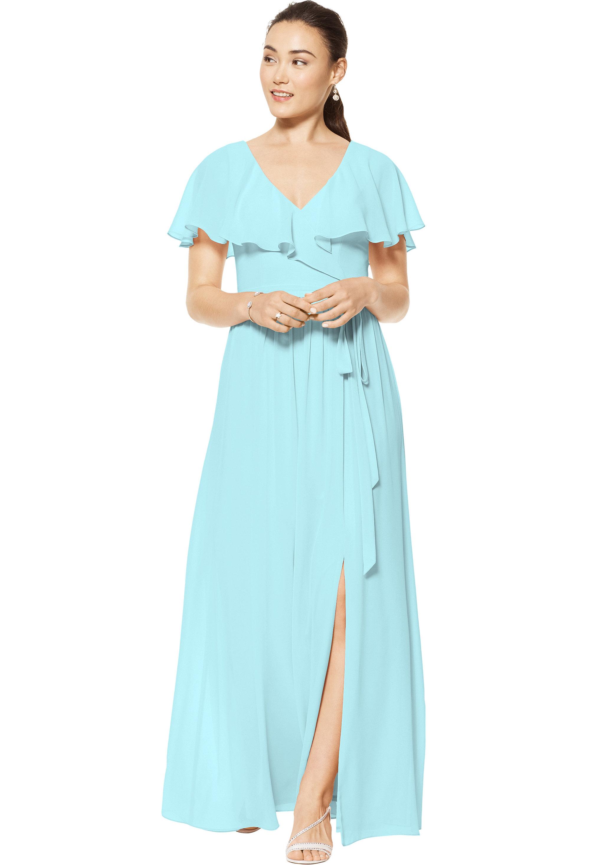 Bill Levkoff GLACIER Chiffon V-neck A-line gown, $178.00 Front