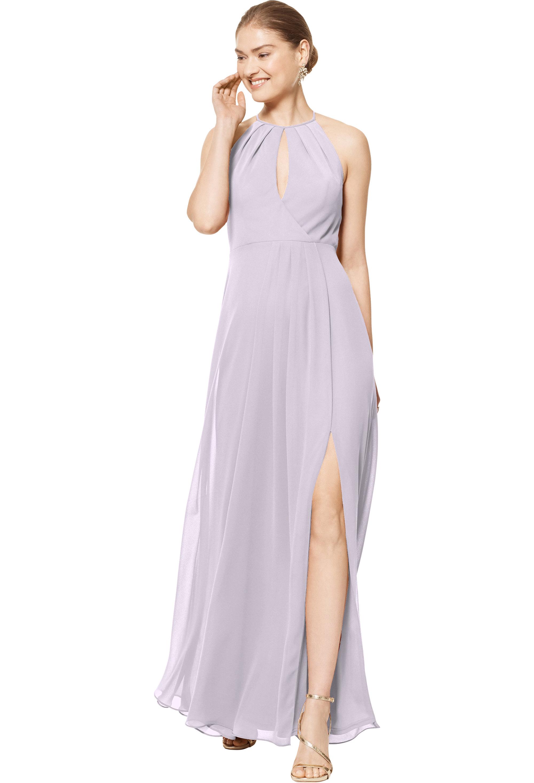 Bill Levkoff VIOLET Chiffon Halter A-line gown, $158.00 Front