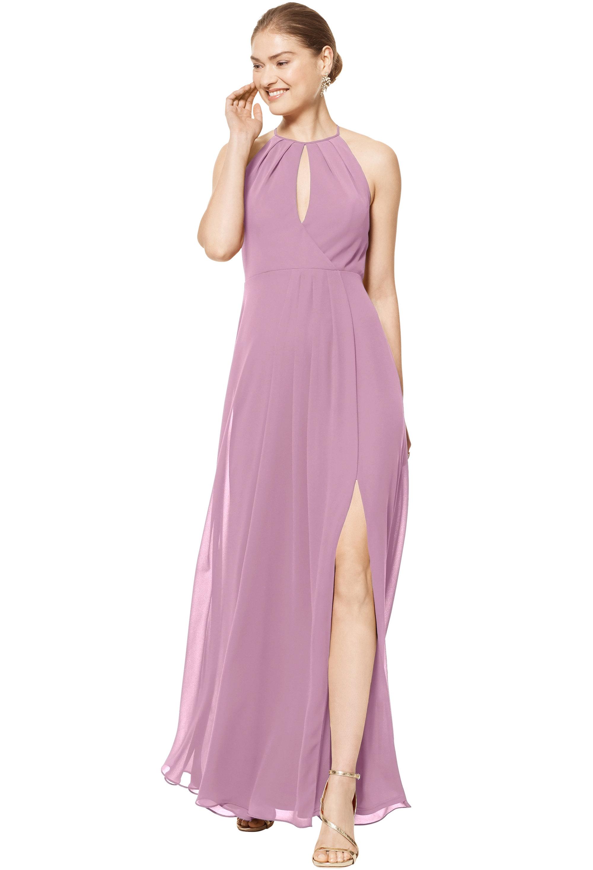 Bill Levkoff WISTERIA Chiffon Halter A-line gown, $158.00 Front
