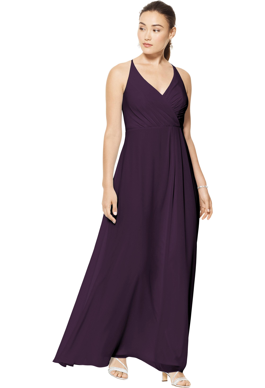 Bill Levkoff PLUM Chiffon V-neck A-line gown, $158.00 Front