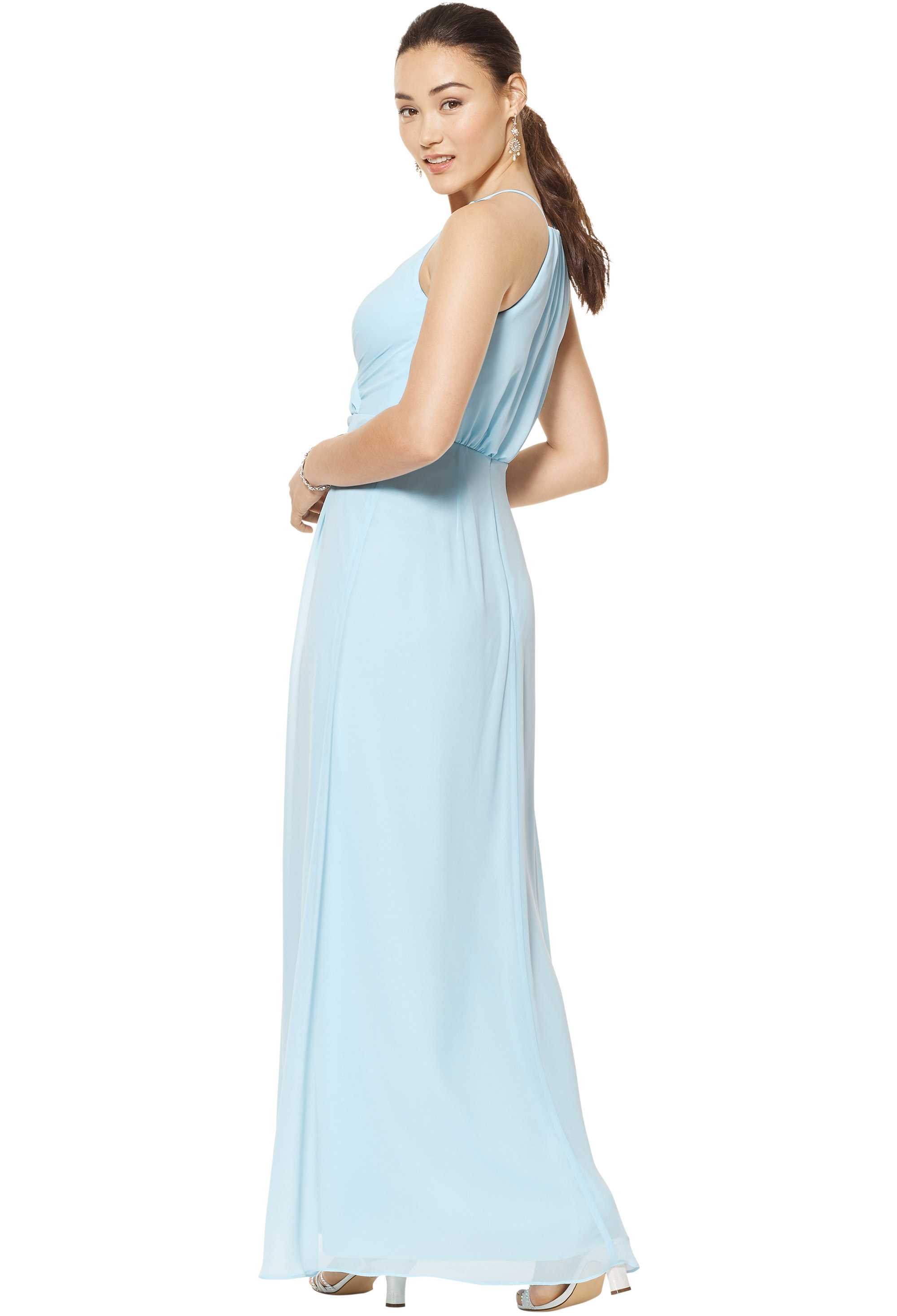 Bill Levkoff VIOLET Chiffon V-neck A-line gown, $158.00 Back